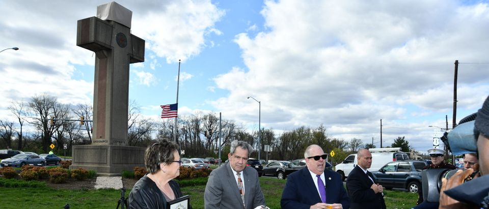 Maryland Gov. Larry Hogan visits the Bladensburg Peace Cross in April 2018. (Credit: Maryland GovPics, via Flickr creative commons)
