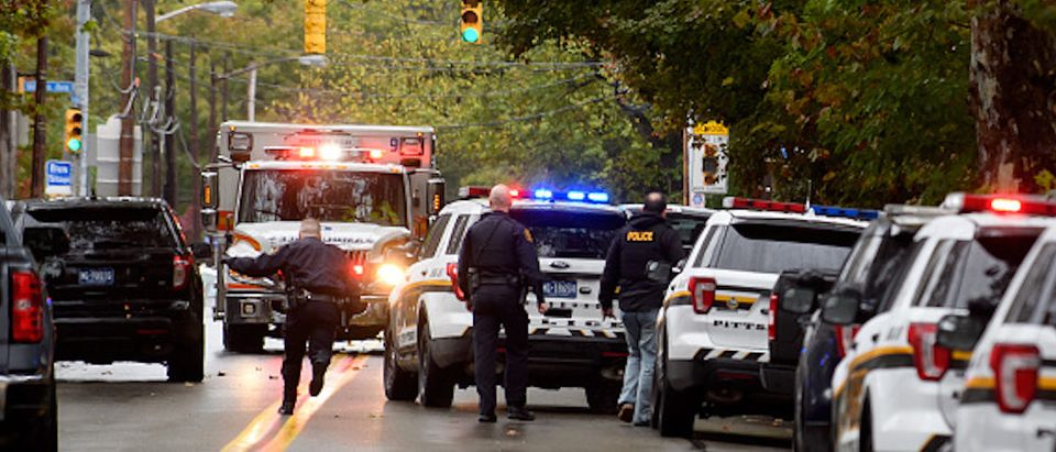 PITTSBURGH, PA - OCTOBER 27: Police rapid response team members respond to the site of a mass shooting at the Tree of Life Synagogue in the Squirrel Hill neighborhood on October 27, 2018 in Pittsburgh, Pennsylvania. According to reports, at least 12 people were shot, 4 dead and three police officers hurt during the incident. (Jeff Swensen/Getty Images)
