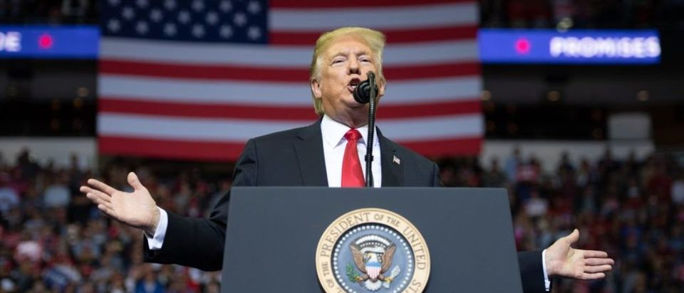 US President Donald Trump speaks during a campaign rally at the Toyota Center in Houston, Texas, on October 22, 2018. SAUL LOEB/AFP/Getty Images