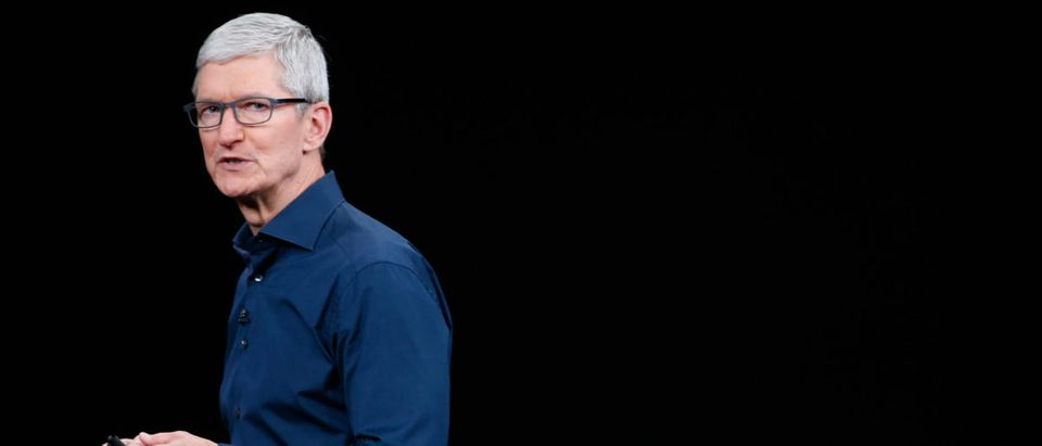 Tim Cook, CEO of Apple, speaks on stage following an Apple Inc product launch in Cupertino
