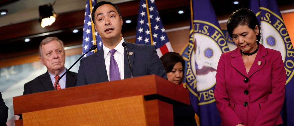 Rep. Joaquin Castro (D-TX) speaks at a news conference about the court ordered family reunification deadline on Capitol Hill in Washington