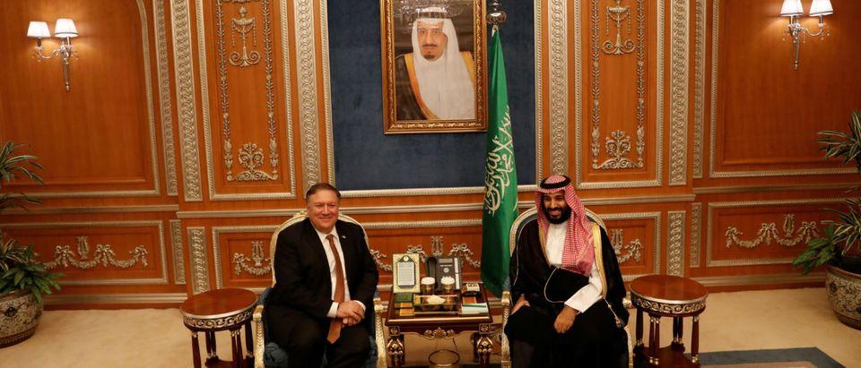 U.S. Secretary of State Mike Pompeo meets with the Saudi Crown Prince Mohammed bin Salman during his visits in Riyadh, Saudi Arabia