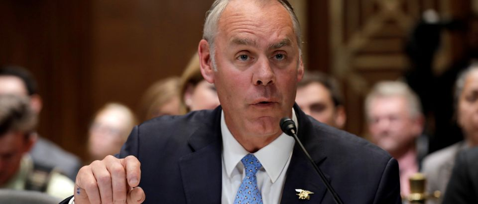 FILE PHOTO: U.S. Interior Secretary Ryan Zinke testifies before a Senate Appropriations Interior, Environment and Related Agencies Subcommittee hearing in Washington