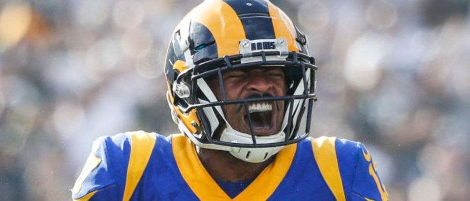 Wide receiver Robert Woods #17 of the Los Angeles Rams reacts after his catch against the Green Bay Packers at Los Angeles Memorial Coliseum on October 28, 2018 in Los Angeles, California. (Photo by Joe Robbins/Getty Images)