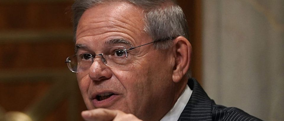 Ranking member U.S. Sen. Robert Menendez (D-NJ) speaks during a hearing before Senate Foreign Relations Committee July 25, 2018 on Capitol Hill in Washington, DC