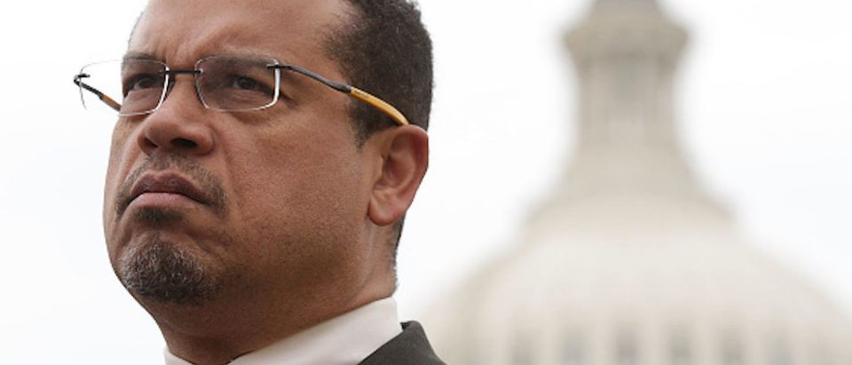 Rep. Keith Ellison (D-MN) listens during a news conference in front of the Capitol February 1, 2017 on Capitol Hill in Washington, DC