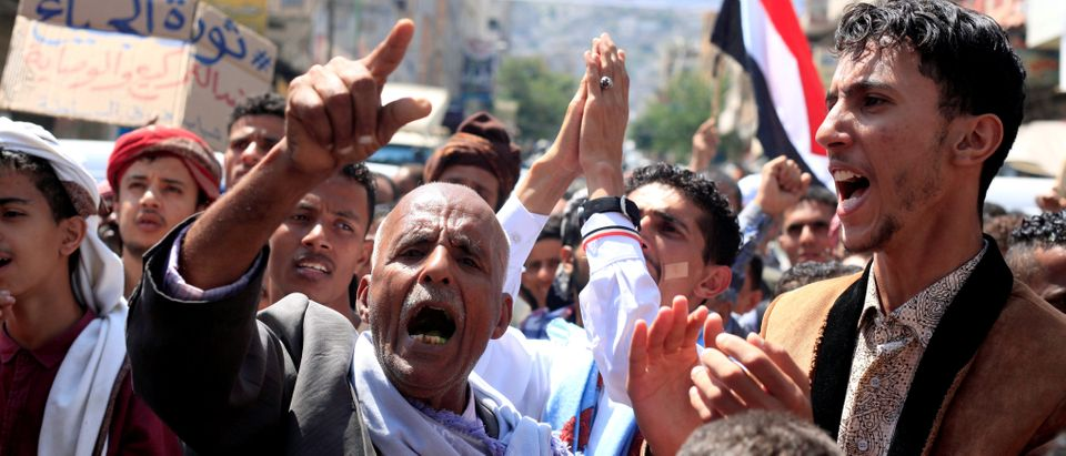 People demonstrate to denounce the deterioration of Yemen's economy and the devaluation of the local currency in Taiz
