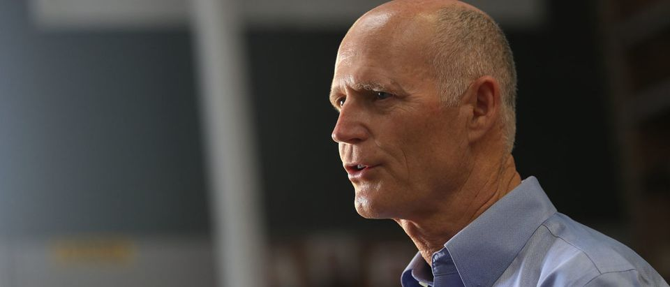 MIAMI, FL - JUNE 04: Florida Gov. Rick Scott speaks to the media during a visit to the Shell Lumber and Hardware store on June 4, 2018 in Miami, Florida. The governor visited the store to highlight the disaster preparedness sales tax holiday running now through June 7th and to encourage residents to prepare for the hurricane season which started on June 1. (Photo by Joe Raedle/Getty Images)