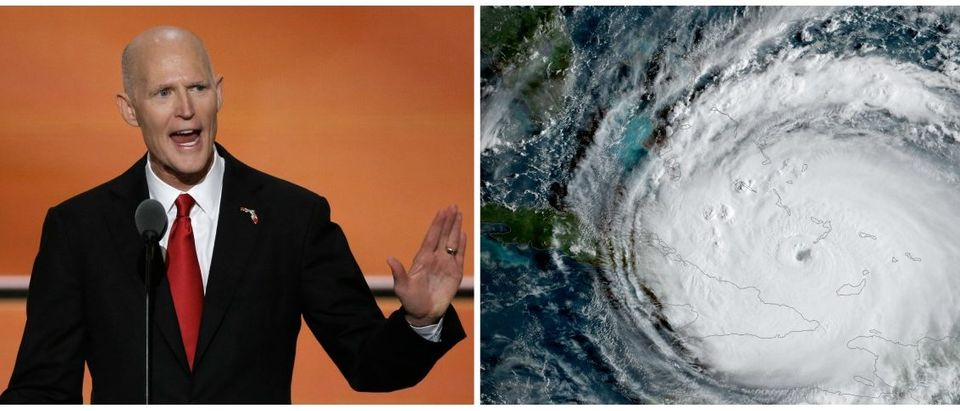 Side-by-side of Florida Gov. Rick Scott and 2017's Hurricane Irma.