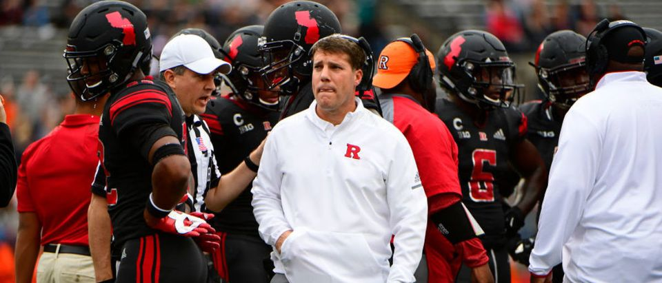 PISCATAWAY, NJ - OCTOBER 06: Head Coach Chris Ash of the Rutgers Scarlet Knights looks on during a time out against the Illinois Fighting Illini in the fourth quarter at HighPoint.com Stadium on October 6, 2018 in Piscataway, New Jersey. Illinois won 38-17. (Photo by Corey Perrine/Getty Images)