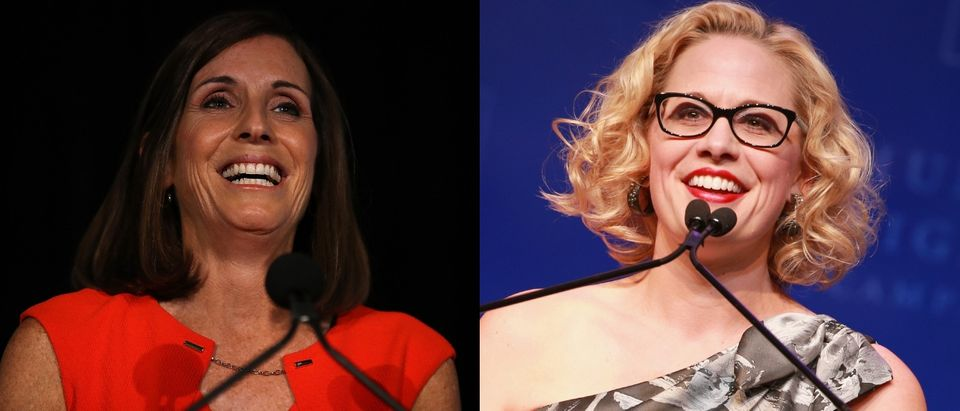 Reps. Martha McSally and Kyrsten Sinema will face off to represent Arizona in the Senate. SAUL LOEB/AFP/Getty Images and Rich Fury/Getty Images for Human Rights Campaign (HRC)