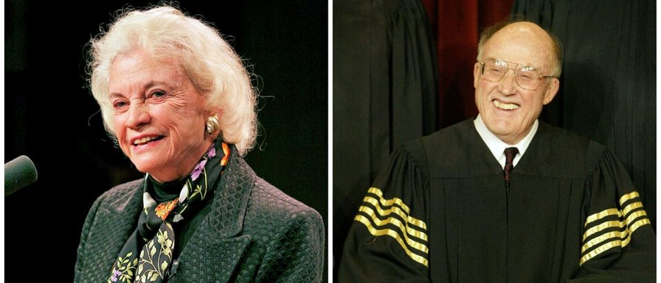 (L) Former Supreme Court Justice Sandra Day O'Connor. (R) The late Chief Justice William Rehnquist. (Images via Reuters)