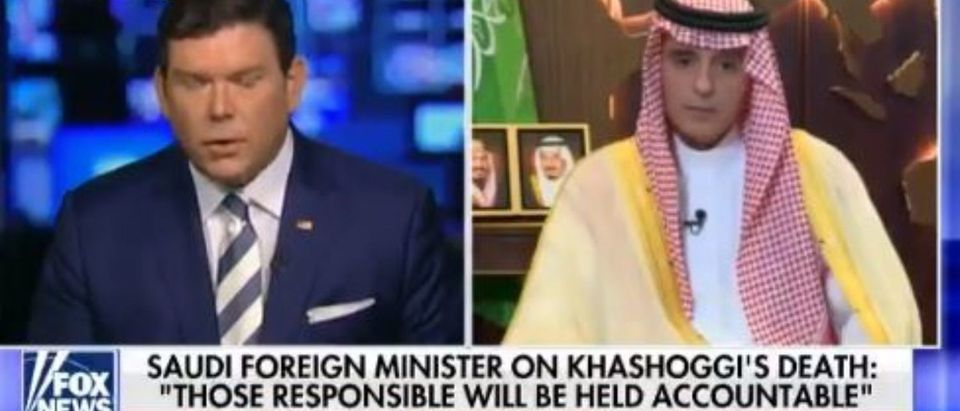 Saudi Foreign Minister Adel al-Jubeir talks to Fox News' Brett Baier about Turkish journalist's death (screenshot of Fox News)