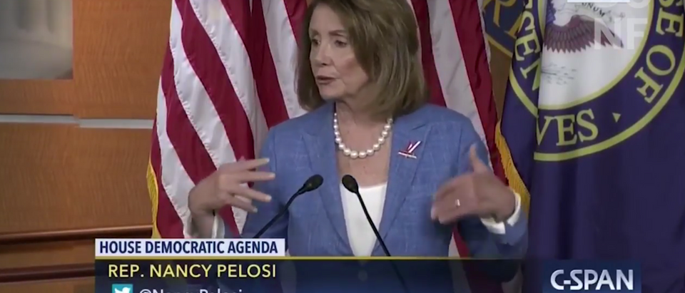 Former Speaker of the House Nancy Pelosi explained in a 2017 press conference a common 'wrap up smear' tactic she claimed Republicans have used in the past. (Youtube screenshot)