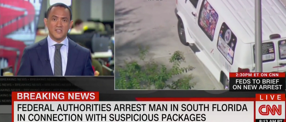 Man was arrested in connection to the bombings. (CNN Screenshot: October 26, 2018)