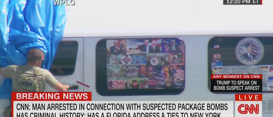 Suspect's Van Covered In Trump Stickers (CNN Screenshot: October 26, 2018)