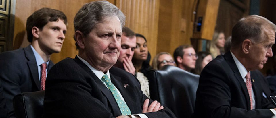 Sen. John Kennedy, R-La., listens to Judge Brett Kavanaugh during the Senate Judiciary Committee hearing on his nomination be an associate justice of the Supreme Court of the United States