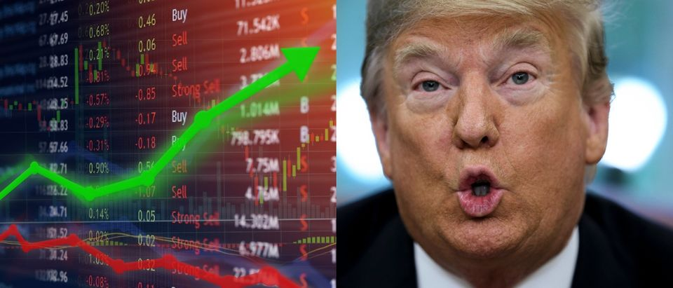 President Donald Trump blamed poor U.S. stock performance on the Federal Reserve Oct. 11, 2018. Shutterstock image via user Travis Wolfe (L) and Oliver Contreras - Pool/Getty Images (R)