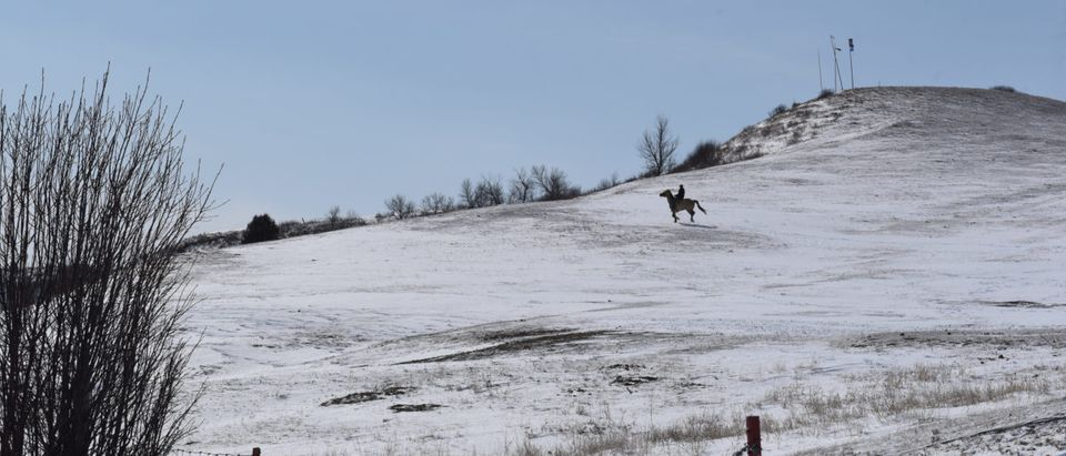 One of the Fort Laramie Treaty riders rides through the snow in a field near Arvol Lookinghorse's house in Green Grass, South Dakota, U.S., April 14, 2018. REUTERS/Stephanie Keith