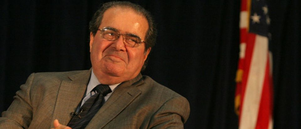 Supreme Court Justice Antonin Scalia in a September 2010 file image at the University of California, Hastings -- Ray Chavez - Bay Area News Group --TNS via Getty Images