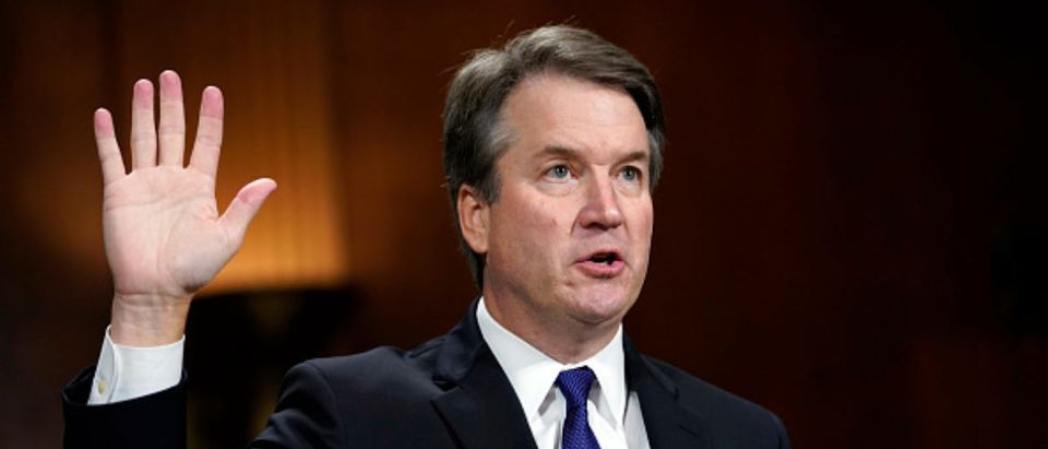 WASHINGTON, D.C. -- SEPTEMBER 27: Supreme Court nominee Brett Kavanaugh is sworn in to testify before the Senate Judiciary Committee on Capitol Hill on September 27, 2018 in Washington, D.C. Kavanaugh was called back to testify about claims by Dr. Christine Blasey Ford, who has accused him of sexually assaulting her during a party in 1982 when they were high school students in suburban Maryland. (Photo by Andrew Harnik - Pool/Getty Images)