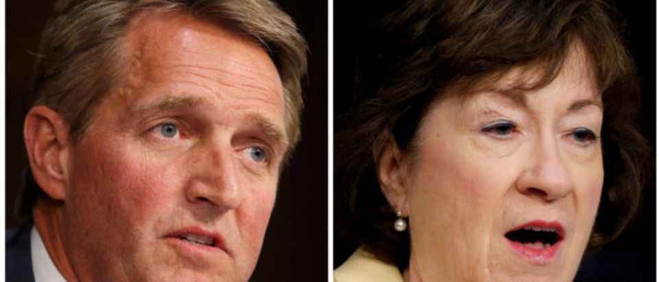 A combination photo shows U.S. Republican Senators L-R: Jeff Flake and Susan Collins during hearings on Capitol Hill in Washington, DC. REUTERS.