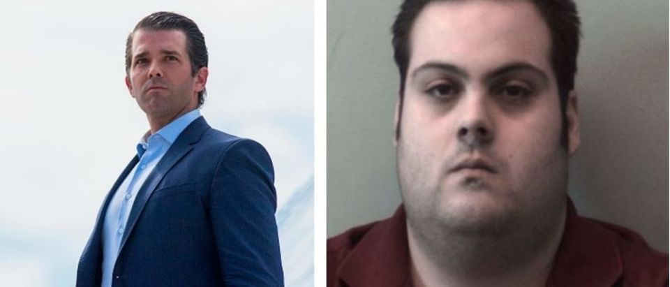Trump Jr. & Daniel Frisiello Mug Shot Beverly Police Department and IM WATSON/AFP/Getty Images