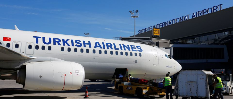 A Turkish airlines airplane at a docking station at the TAV airport in Skopje