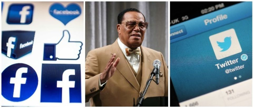 Facebook's logo, Louis Farrakhan, and Twitter (LEFT: NICOLAS ASFOURI/AFP/Getty Images MIDDLE: Mark Wilson/Getty Images, RIGHT: Bethany Clarke/Getty Images)