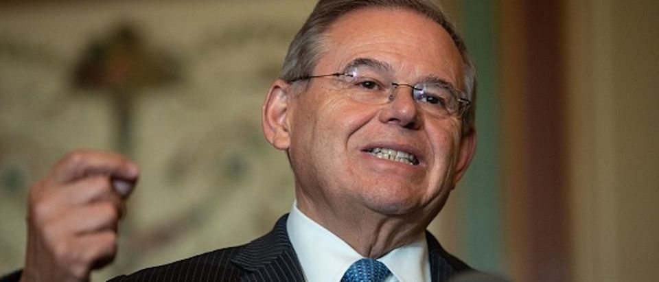 US Senate Foreign Relations Committee ranking member Democratic Senator from New Jersey Bob Menendez speaks to the press after a meeting with Canadian Foreign Minister Chrystia Freeland at the US Capitol in Washington, DC, on June 13, 2018