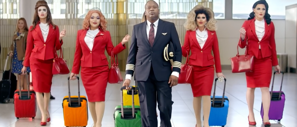 "Virgin Atlantic airline started selling tickets Wednesday for a ""pride flight"" that will feature drag queens, LGBTQ flight attendants, speed dating and DJs. (YouTube screenshot/Virgin Atlantic)"