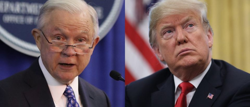 Attorney General Jeff Sessions (L) and President Donald Trump (R). Win McNamee/Getty Images and Mark Wilson/Getty Images