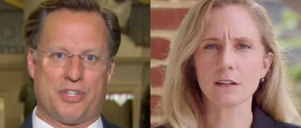 Republican Virginia Rep. Dave Brat will face Democratic challenger Abigail Spanberger this November. YouTube screenshotFox News (L) and YouTube screenshotAbigail Spanberger for Congress (R)