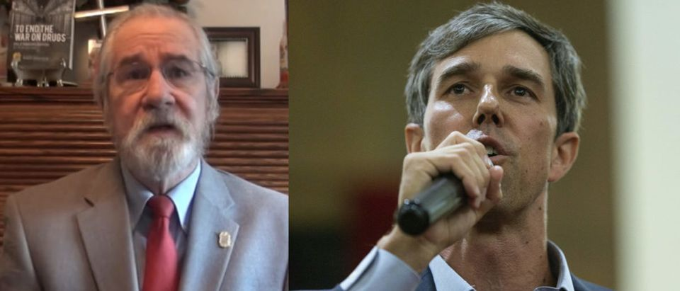 Pictured are Rep. Beto O'Rourke (R) and Dean Becker (L). (Left: Screenshot/YouTube; Right: LAURA BUCKMAN/AFP/Getty Images)