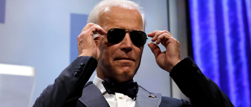 Former U.S. Vice President Joe Biden wears sunglasses at the Human Rights Campaign (HRC) dinner in Washington, U.S., September 15, 2018. REUTERS/Yuri Gripas
