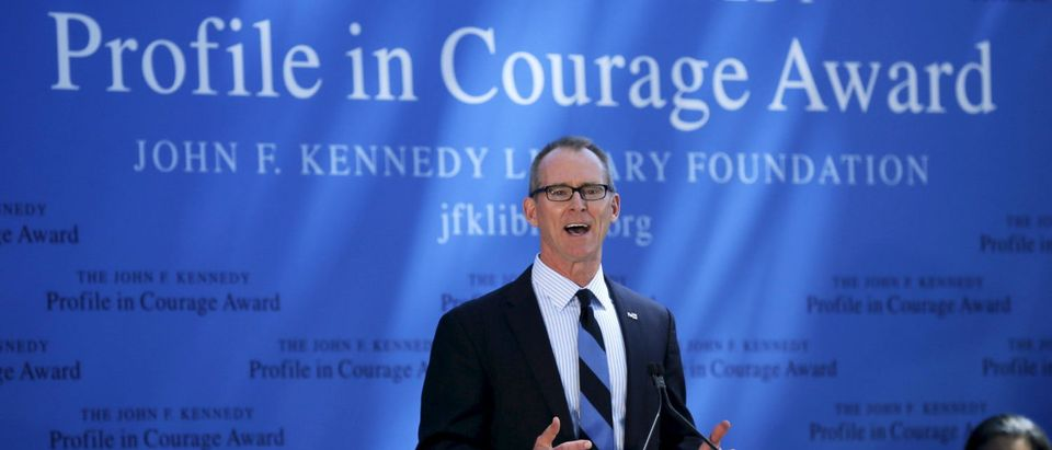 Former U.S. Representative Bob Inglis accepts the 2015 John F. Kennedy Profile in Courage Award at the Kennedy Library in Boston