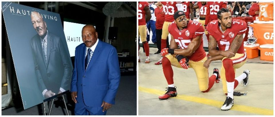 NFL Legend Jim Brown and Colin Kaepernick (LEFT: Joe Scarnici/Getty Images for Haute Living RIGHT: Photo by Thearon W. Henderson/Getty Images)