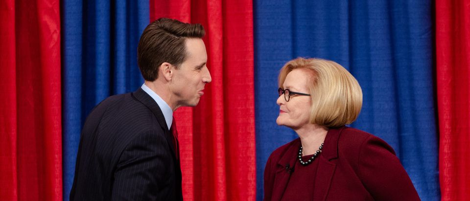 Missouri Attorney General Josh Hawley and U.S. Sen. Claire McCaskill meet on stage at Thursday night's Senate debate in St. Louis. Carolina Hidalgo/St. Louis Public Radio