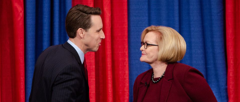 Missouri Attorney General Josh Hawley and U.S. Sen. Claire McCaskill meet on stage at Thursday night's Senate debate in St. Louis.