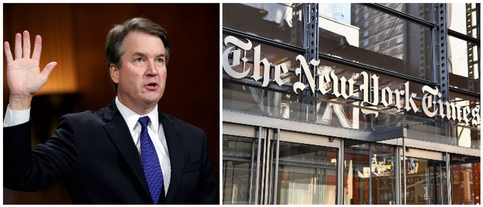 Brett Kavanaugh and the NYT (LEFT: Andrew Harnik - Pool/Getty Images RIGHT: ANGELA WEISS/AFP/Getty Images)
