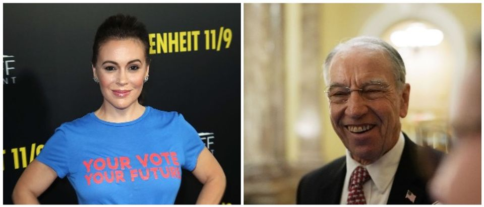 Alyssa Milano and Chuck Grassley (LEFT: David Livingston/Getty Images RIGHT: Alex Wong/Getty Images)