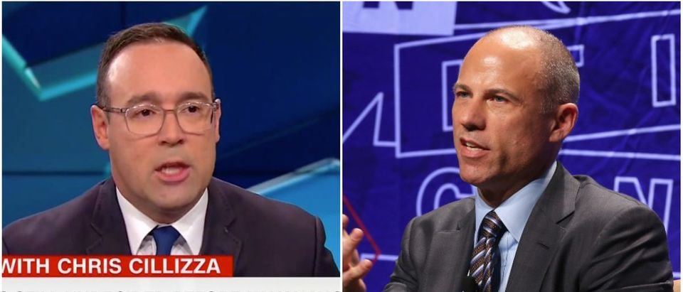 Left: Chris Cillizza (CNN Screenshot: October 26, 2018), Right: Michael Avenatti (Getty Images)