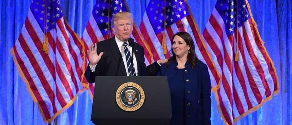 US President Donald Trump speaks after his introduction by RNC Chairwoman Ronna Romney McDaniel at a fundraising breakfast in a restaurant in New York, New York on December 2, 2017. MANDEL NGAN/AFP/Getty Images)