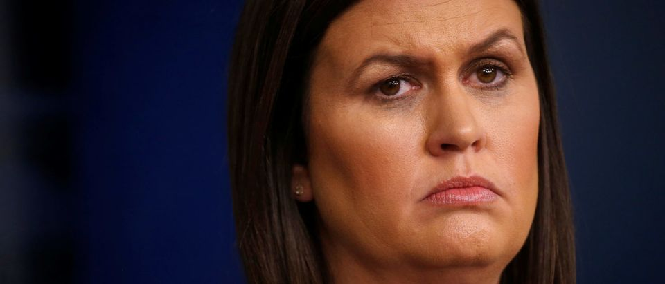 U.S. White House Press Secretary Sarah Huckabee Sanders holds the daily briefing at the White House in Washington, D.C., U.S. August 14, 2018. REUTERS/Leah Millis