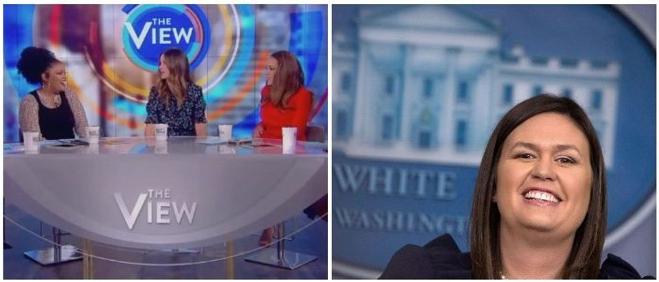 The View side by side with Sarah Sanders (LEFT: ABC screenshot 10/12/2018, RIGHT: Chip Somodevilla/Getty Images)