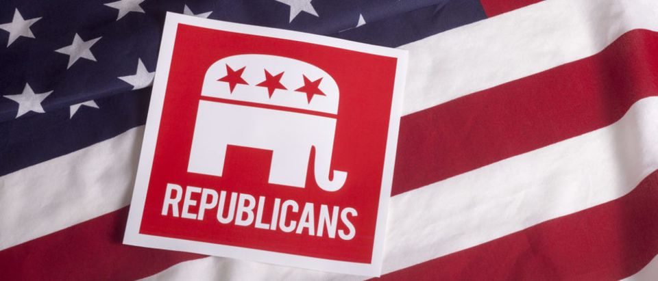 Pictured is a Republican elephant on an American flag. shutterstock_305852282