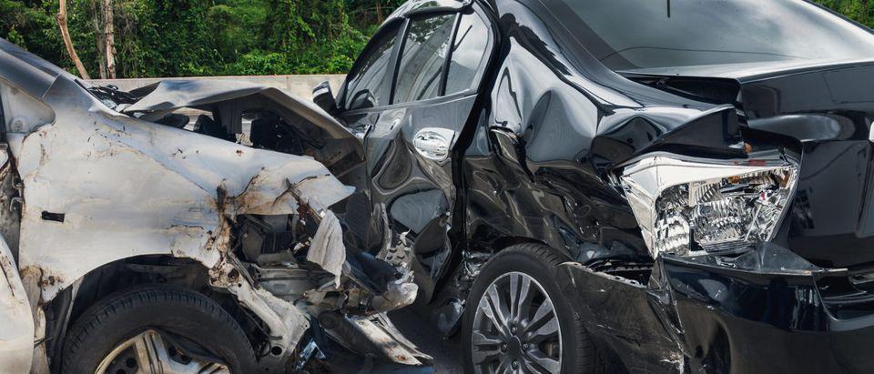 A car crash does damage. Shutterstock image via user Kwangmoozaa