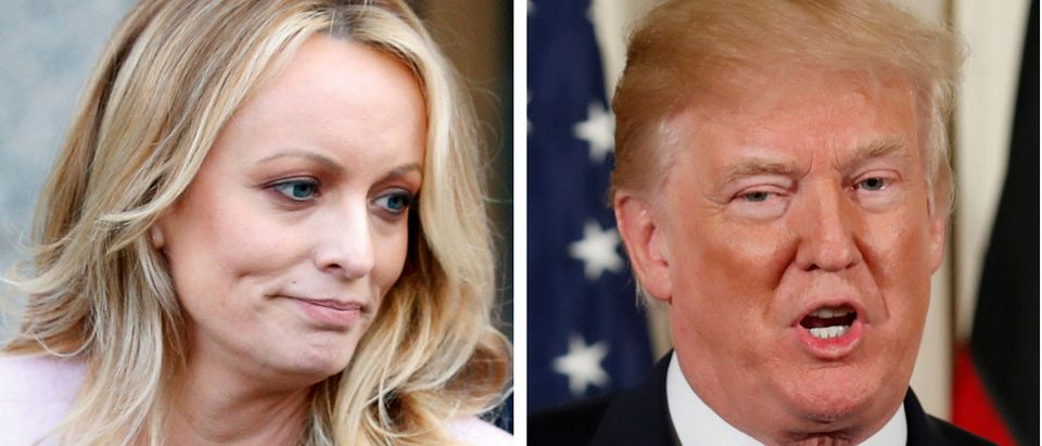 FILE PHOTO: A combination photo shows Adult film actress Stephanie Clifford, also known as Stormy Daniels speaking in New York City, and U.S. President Donald Trump speaking in Washington, Michigan, U.S. on April 16, 2018 and April 28, 2018 respectively. REUTERS/Brendan McDermid, Joshau Roberts