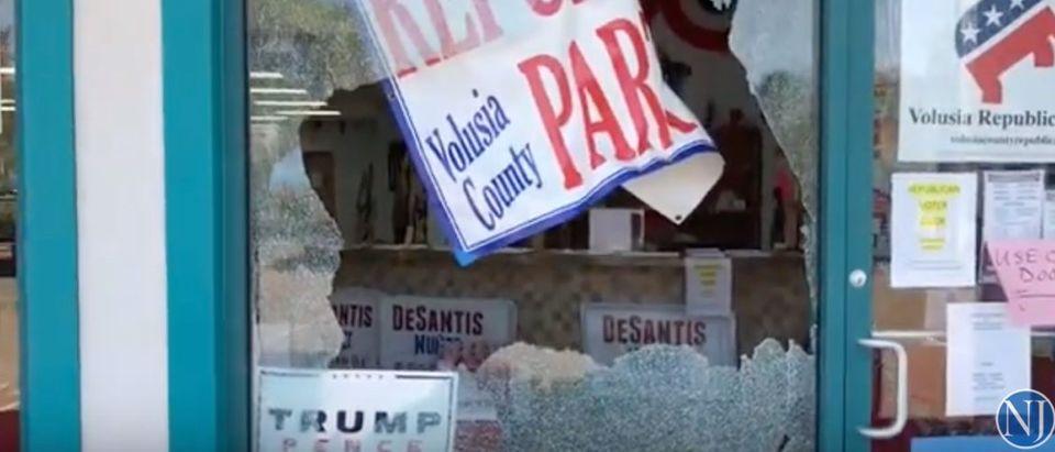 Volusia GOP headquarters. (YouTube screen capture/Daytona Beach News-Journal)