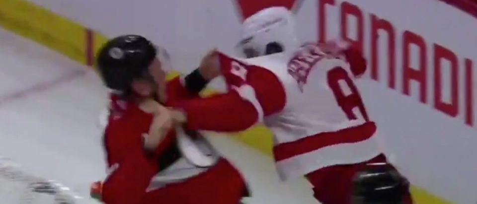 Justin Abdelkader fight (Credit: Screenshot/Twitter Video https://twitter.com/BradyTrett/status/1063234580570722304)